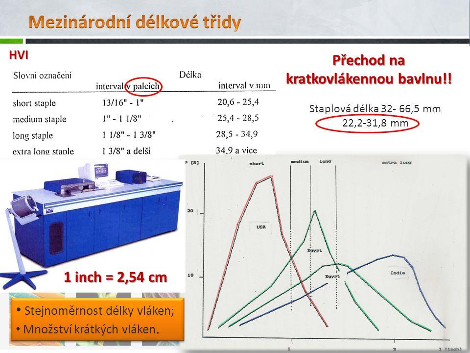 Egyptské standardy >30 mm (>30 mm) (Alexandrijská bavlnová burza:7 tříd) Vlákna delší, jemnější 20-30 mm Americké standardy (20-30 mm) - 2012 (8 tříd, vizuálně-organoleptické třídění) Vlákna kratší, pevnější