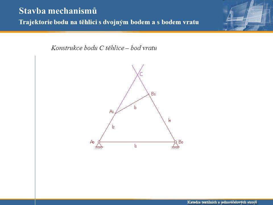 Stavba mechanismů Trajektorie bodu na těhlici s dvojným bodem a s bodem vratu Konstrukce bodu C těhlice – bod vratu