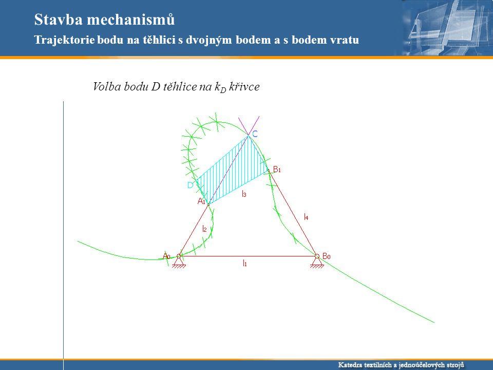 Stavba mechanismů Trajektorie bodu na těhlici s dvojným bodem a s bodem vratu Konstrukce trajektorie bodu D s dvojným bodem