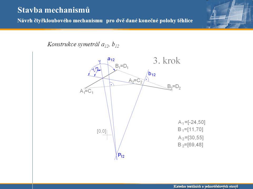 Stavba mechanismů Konstrukce symetrál a 12, b 12 Návrh čtyřkloubového mechanismu pro dvě dané konečné polohy těhlice