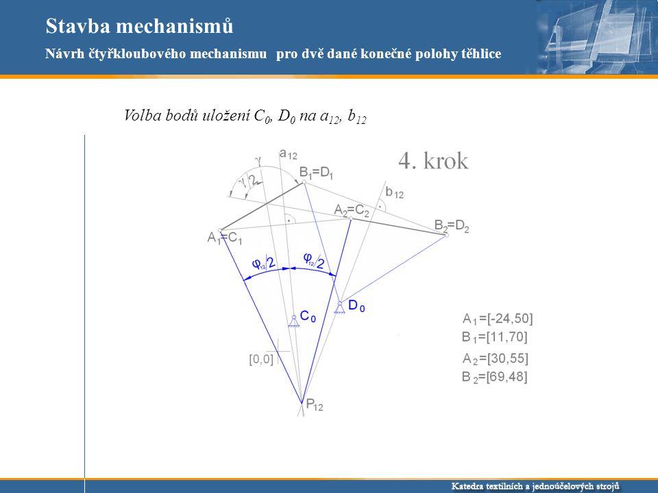 Stavba mechanismů Volba bodů uložení C 0, D 0 na a 12, b 12 Návrh čtyřkloubového mechanismu pro dvě dané konečné polohy těhlice