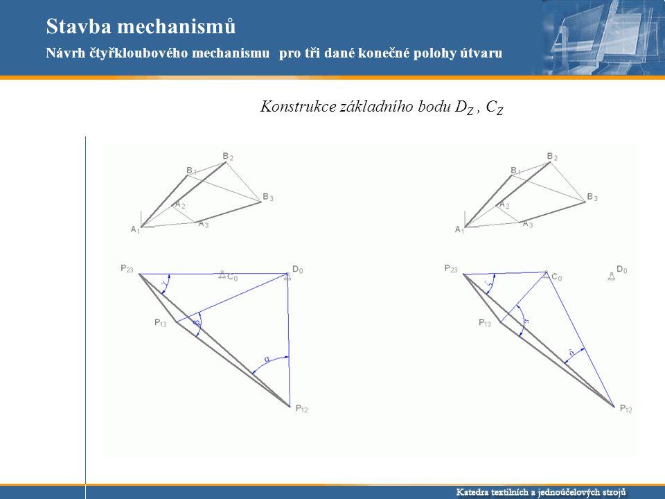 Stavba mechanismů Konstrukce základního bodu D Z, C Z Návrh čtyřkloubového mechanismu pro tři dané konečné polohy útvaru