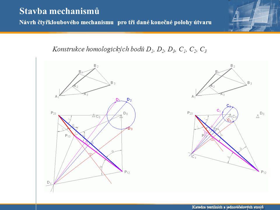 Stavba mechanismů Konstrukce homologických bodů D 1, D 2, D 3, C 1, C 2, C 3 Návrh čtyřkloubového mechanismu pro tři dané konečné polohy útvaru