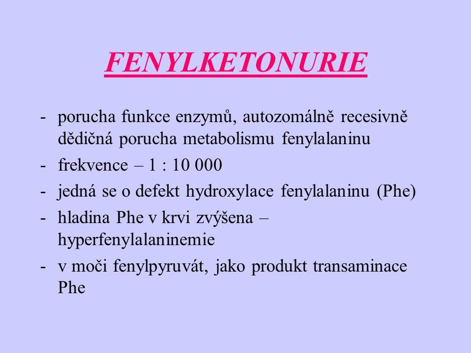 FENYLKETONURIE -porucha funkce enzymů, autozomálně recesivně dědičná porucha metabolismu fenylalaninu -frekvence – 1 : 10 000 -jedná se o defekt hydroxylace fenylalaninu (Phe) -hladina Phe v krvi zvýšena – hyperfenylalaninemie -v moči fenylpyruvát, jako produkt transaminace Phe