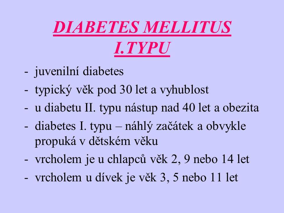 DIABETES MELLITUS I.TYPU -juvenilní diabetes -typický věk pod 30 let a vyhublost -u diabetu II.