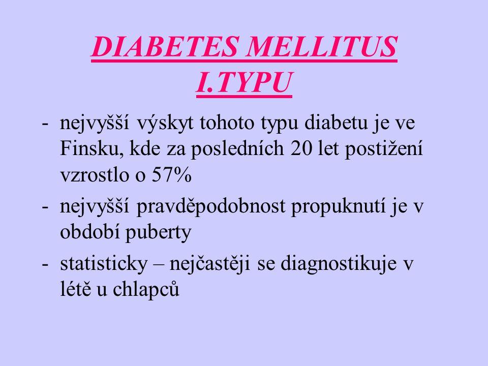 DIABETES MELLITUS I.TYPU -nejvyšší výskyt tohoto typu diabetu je ve Finsku, kde za posledních 20 let postižení vzrostlo o 57% -nejvyšší pravděpodobnost propuknutí je v období puberty -statisticky – nejčastěji se diagnostikuje v létě u chlapců