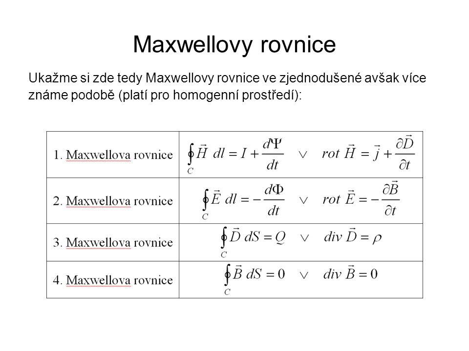 Maxwellovy rovnice Ukažme si zde tedy Maxwellovy rovnice ve zjednodušené avšak více známe podobě (platí pro homogenní prostředí):
