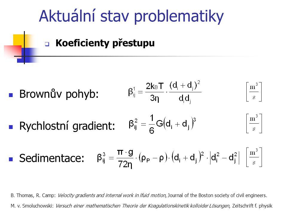 Aktuální stav problematiky  Koeficienty přestupu Brownův pohyb: Rychlostní gradient: Sedimentace: B.