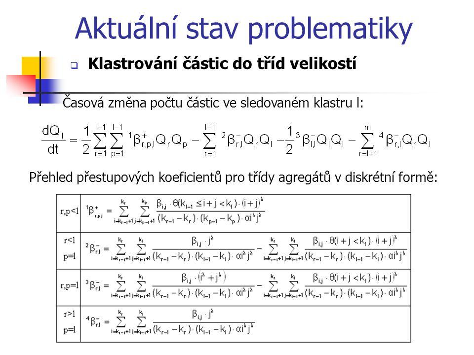 Časová změna počtu částic ve sledovaném klastru l: Přehled přestupových koeficientů pro třídy agregátů v diskrétní formě: Aktuální stav problematiky  Klastrování částic do tříd velikostí