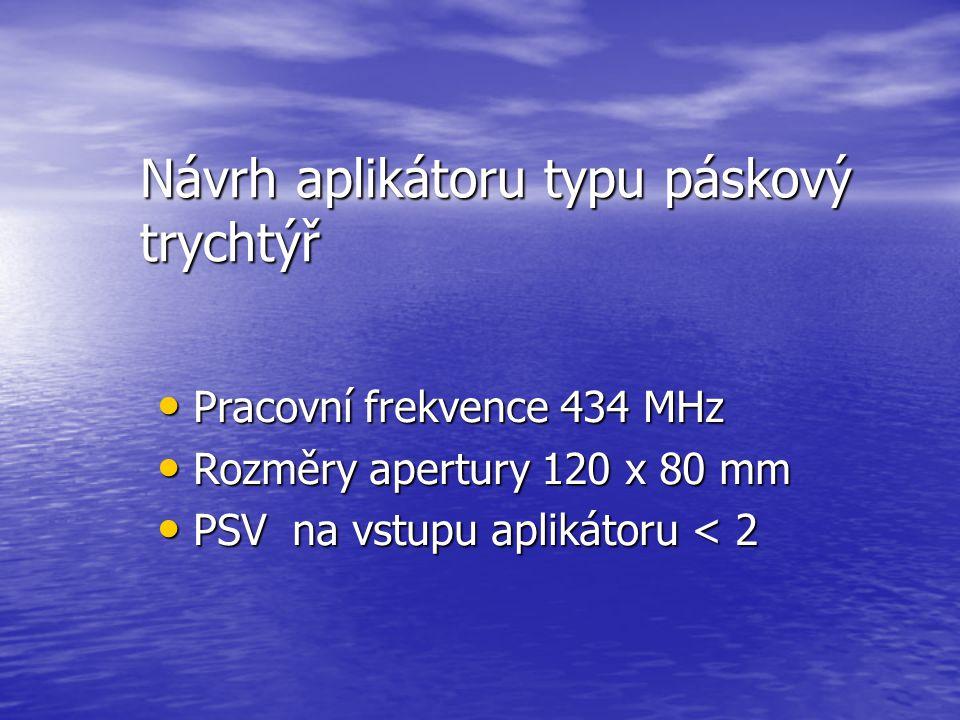 Návrh aplikátoru typu páskový trychtýř Pracovní frekvence 434 MHz Pracovní frekvence 434 MHz Rozměry apertury 120 x 80 mm Rozměry apertury 120 x 80 mm PSV na vstupu aplikátoru < 2 PSV na vstupu aplikátoru < 2