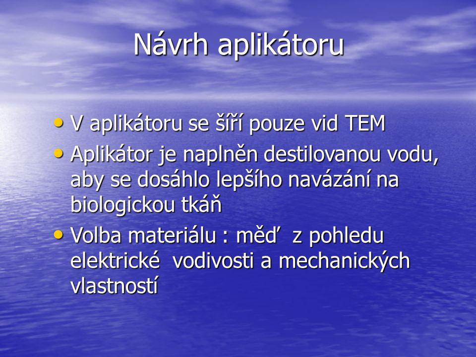 Návrh aplikátoru V aplikátoru se šíří pouze vid TEM V aplikátoru se šíří pouze vid TEM Aplikátor je naplněn destilovanou vodu, aby se dosáhlo lepšího