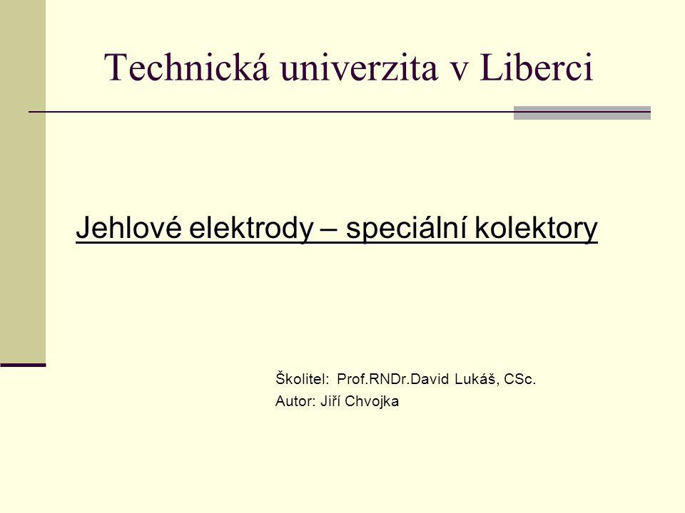 Technická univerzita v Liberci Jehlové elektrody – speciální kolektory Školitel: Prof.RNDr.David Lukáš, CSc. Autor: Jiří Chvojka