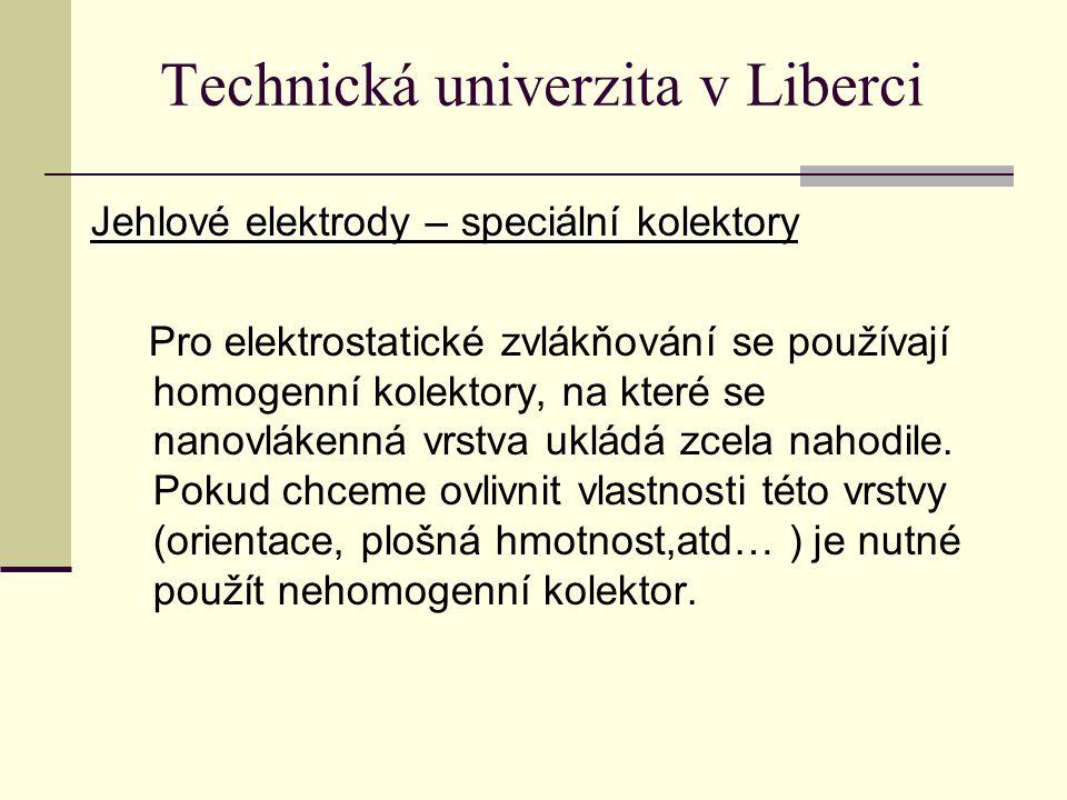 Technická univerzita v Liberci Jehlové elektrody – speciální kolektory Pro elektrostatické zvlákňování se používají homogenní kolektory, na které se nanovlákenná vrstva ukládá zcela nahodile.