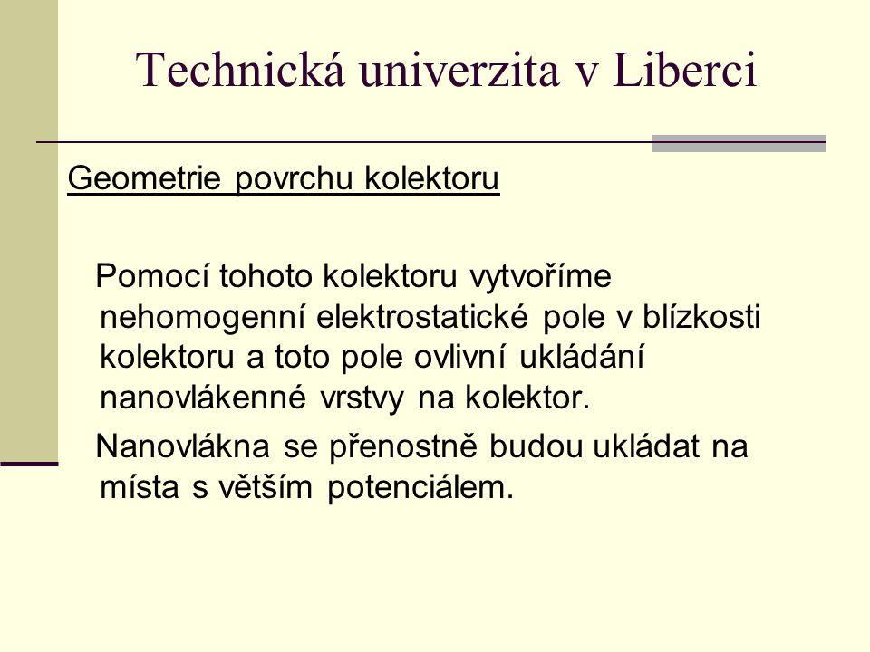 Technická univerzita v Liberci Geometrie povrchu kolektoru Pomocí tohoto kolektoru vytvoříme nehomogenní elektrostatické pole v blízkosti kolektoru a