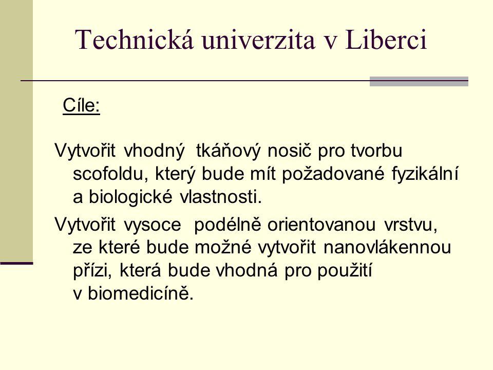 Technická univerzita v Liberci Vytvořit vhodný tkáňový nosič pro tvorbu scofoldu, který bude mít požadované fyzikální a biologické vlastnosti. Vytvoři