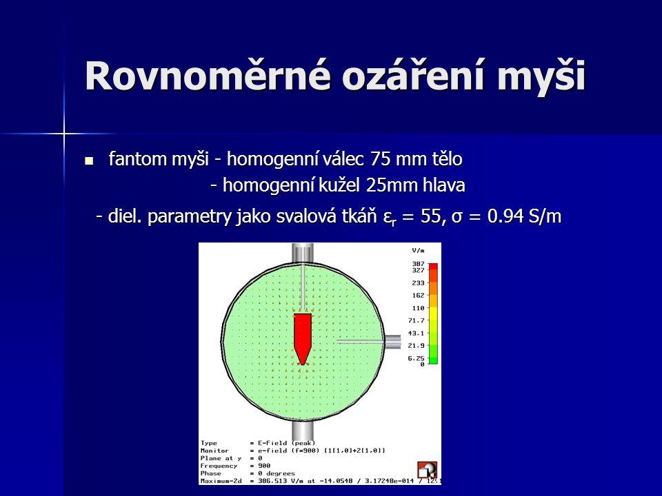 Rovnoměrné ozáření myši fantom myši - homogenní válec 75 mm tělo fantom myši - homogenní válec 75 mm tělo - homogenní kužel 25mm hlava - homogenní kuž
