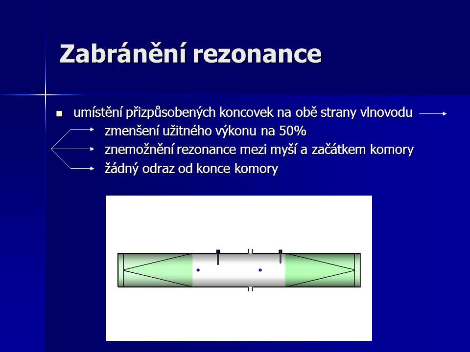 Zabránění rezonance umístění přizpůsobených koncovek na obě strany vlnovodu umístění přizpůsobených koncovek na obě strany vlnovodu zmenšení užitného