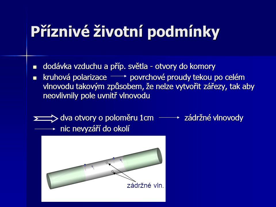 Příznivé životní podmínky dodávka vzduchu a příp. světla - otvory do komory dodávka vzduchu a příp. světla - otvory do komory kruhová polarizace povrc