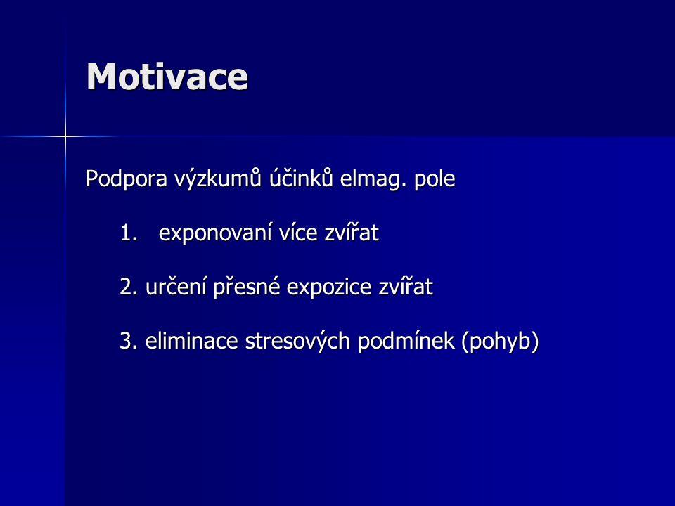 Motivace Podpora výzkumů účinků elmag. pole 1.exponovaní více zvířat 2. určení přesné expozice zvířat 3. eliminace stresových podmínek (pohyb)