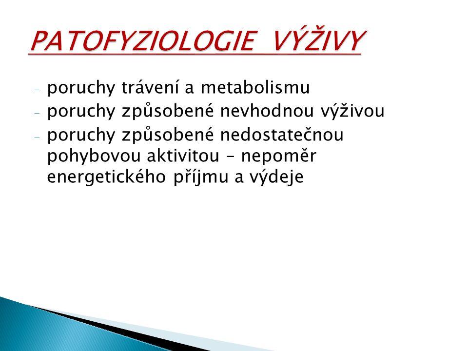 - poruchy trávení a metabolismu - poruchy způsobené nevhodnou výživou - poruchy způsobené nedostatečnou pohybovou aktivitou – nepoměr energetického př