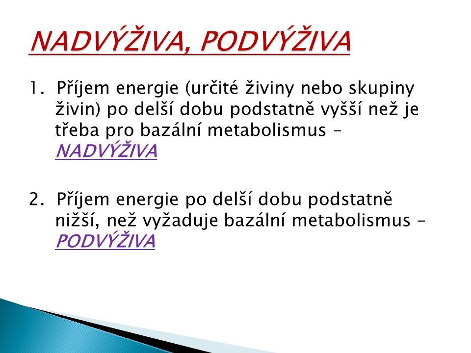1. Příjem energie (určité živiny nebo skupiny živin) po delší dobu podstatně vyšší než je třeba pro bazální metabolismus – NADVÝŽIVA 2. Příjem energie