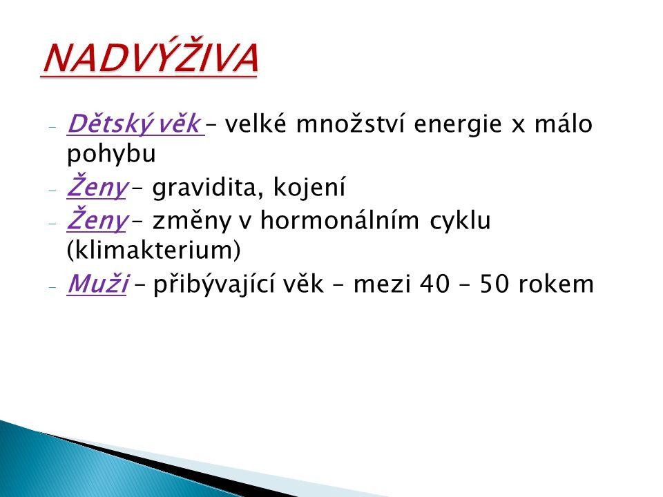 - Dětský věk – velké množství energie x málo pohybu - Ženy – gravidita, kojení - Ženy – změny v hormonálním cyklu (klimakterium) - Muži – přibývající