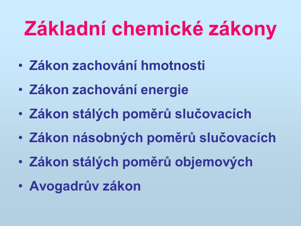 Základní chemické zákony Zákon zachování hmotnosti Zákon zachování energie Zákon stálých poměrů slučovacích Zákon násobných poměrů slučovacích Zákon s