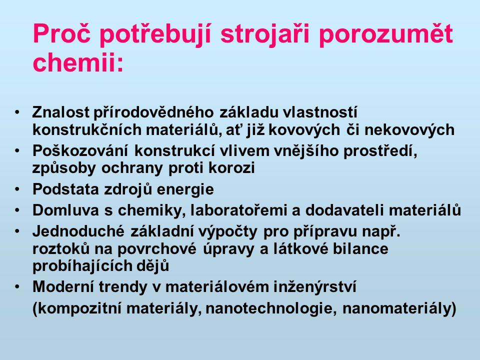 Základní literatura Schejbalová H., Grégr J.: Příklady a úlohy z chemie (skripta).