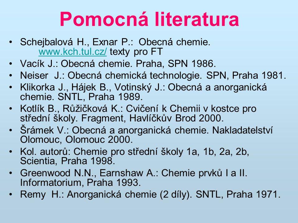 Pomocná literatura Schejbalová H., Exnar P.: Obecná chemie. www.kch.tul.cz/ texty pro FT www.kch.tul.cz/ Vacík J.: Obecná chemie. Praha, SPN 1986. Nei