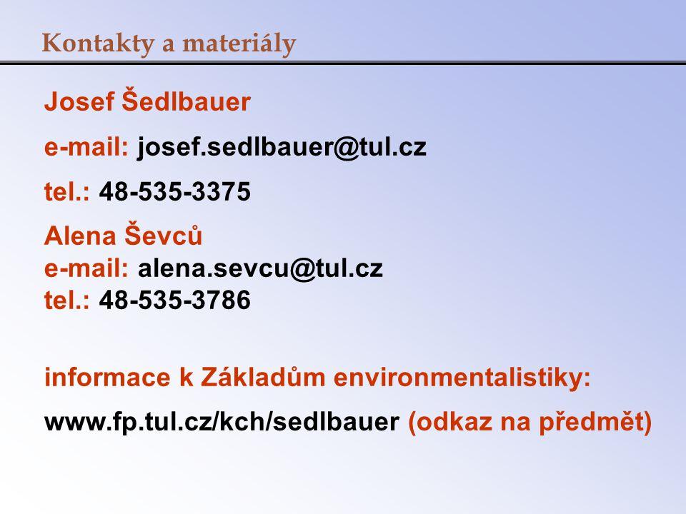 Josef Šedlbauer e-mail: josef.sedlbauer@tul.cz tel.: 48-535-3375 Alena Ševců e-mail: alena.sevcu@tul.cz tel.: 48-535-3786 informace k Základům environ