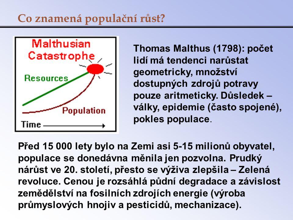 Co znamená populační růst? Před 15 000 lety bylo na Zemi asi 5-15 milionů obyvatel, populace se donedávna měnila jen pozvolna. Prudký nárůst ve 20. st