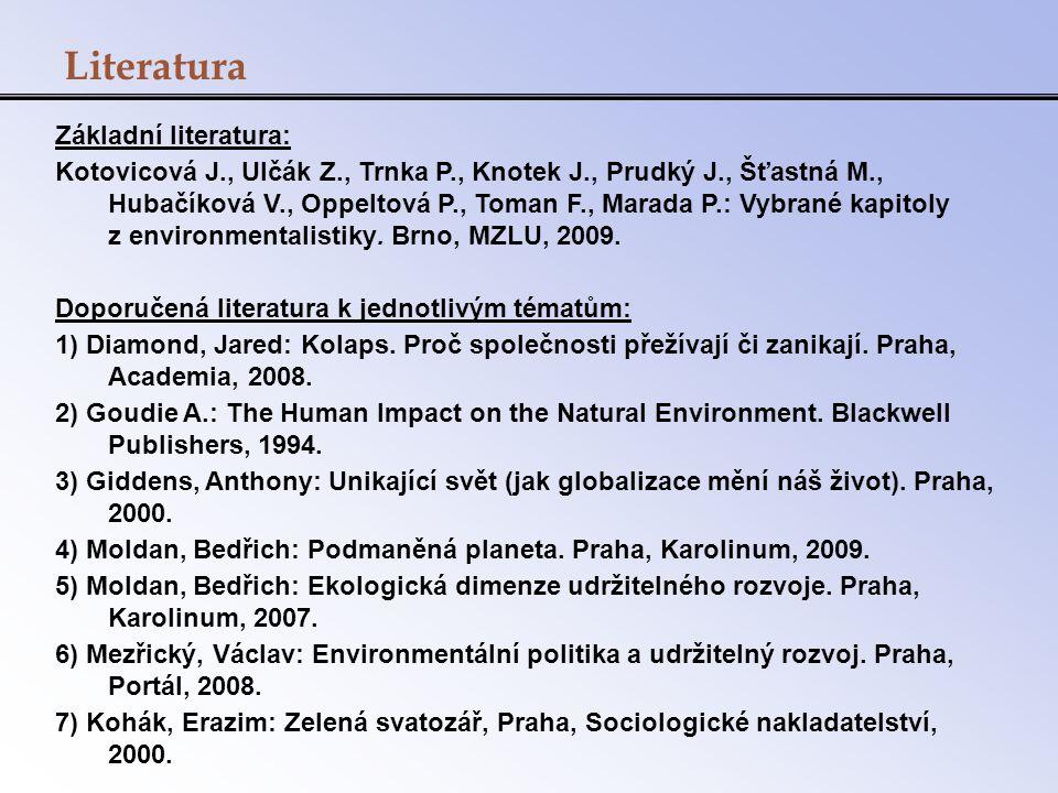 Literatura Základní literatura: Kotovicová J., Ulčák Z., Trnka P., Knotek J., Prudký J., Šťastná M., Hubačíková V., Oppeltová P., Toman F., Marada P.:
