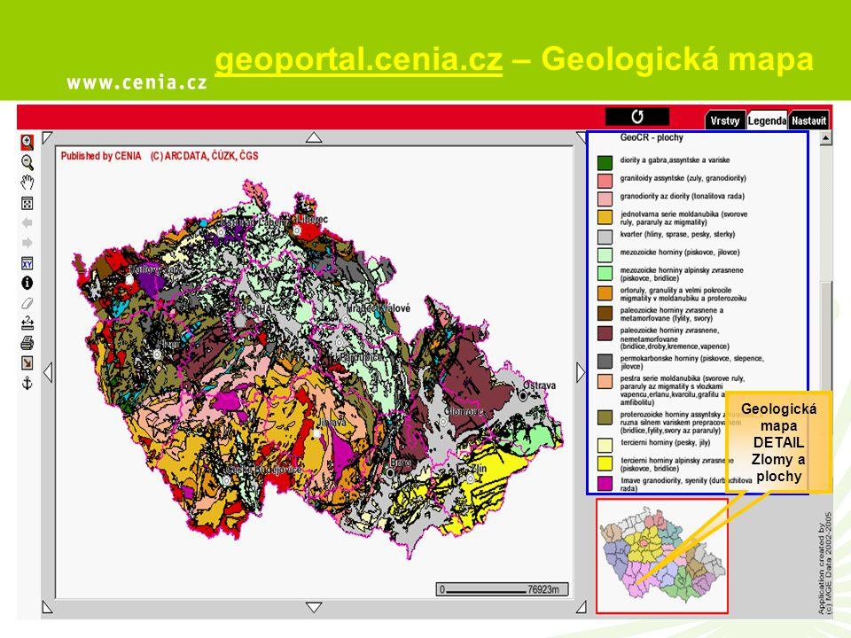 geoportal.cenia.cz – Geologická mapa Geologická mapa DETAIL Zlomy a plochy
