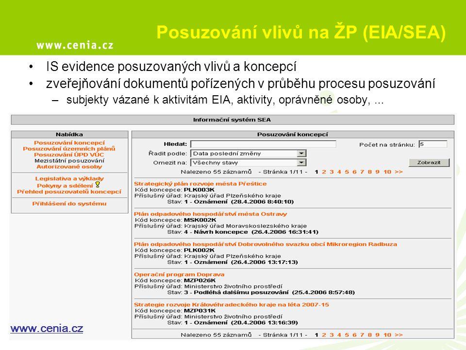 Posuzování vlivů na ŽP (EIA/SEA) IS evidence posuzovaných vlivů a koncepcí zveřejňování dokumentů pořízených v průběhu procesu posuzování –subjekty vá