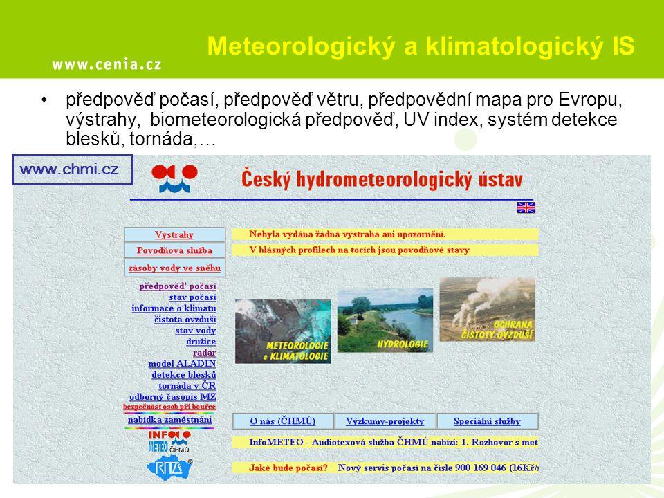 Meteorologický a klimatologický IS předpověď počasí, předpověď větru, předpovědní mapa pro Evropu, výstrahy, biometeorologická předpověď, UV index, sy