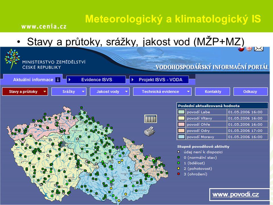 Meteorologický a klimatologický IS Stavy a průtoky, srážky, jakost vod (MŽP+MZ) www.povodi.cz