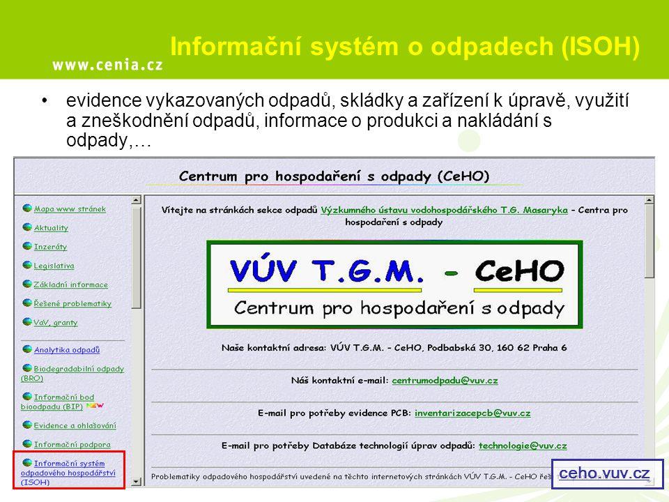 Informační systém o odpadech (ISOH) evidence vykazovaných odpadů, skládky a zařízení k úpravě, využití a zneškodnění odpadů, informace o produkci a na
