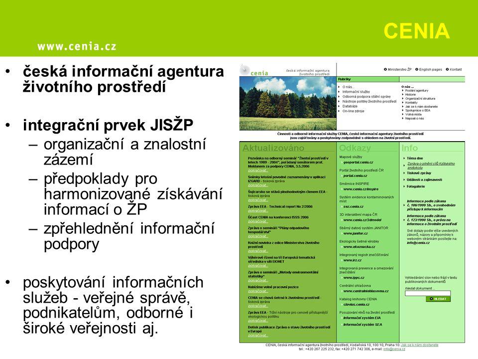 CENIA česká informační agentura životního prostředí integrační prvek JISŽP –organizační a znalostní zázemí –předpoklady pro harmonizované získávání in