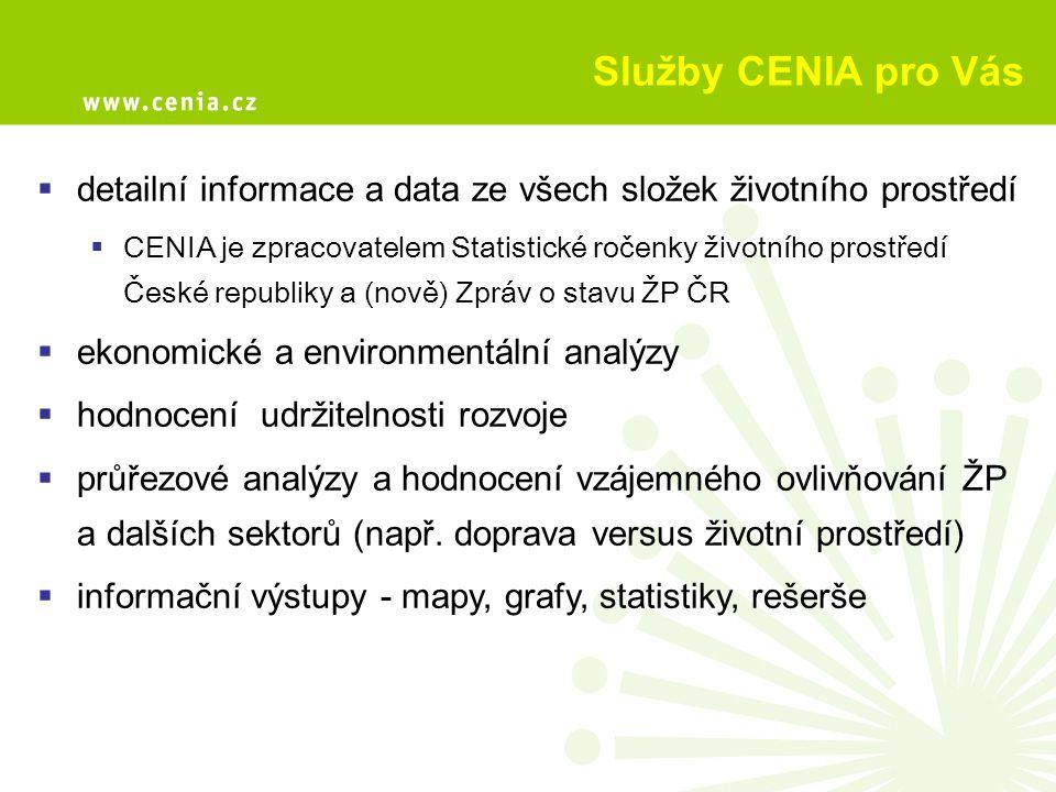 Služby CENIA pro Vás  detailní informace a data ze všech složek životního prostředí  CENIA je zpracovatelem Statistické ročenky životního prostředí