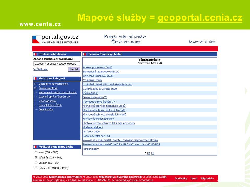 Mapové služby = geoportal.cenia.cz