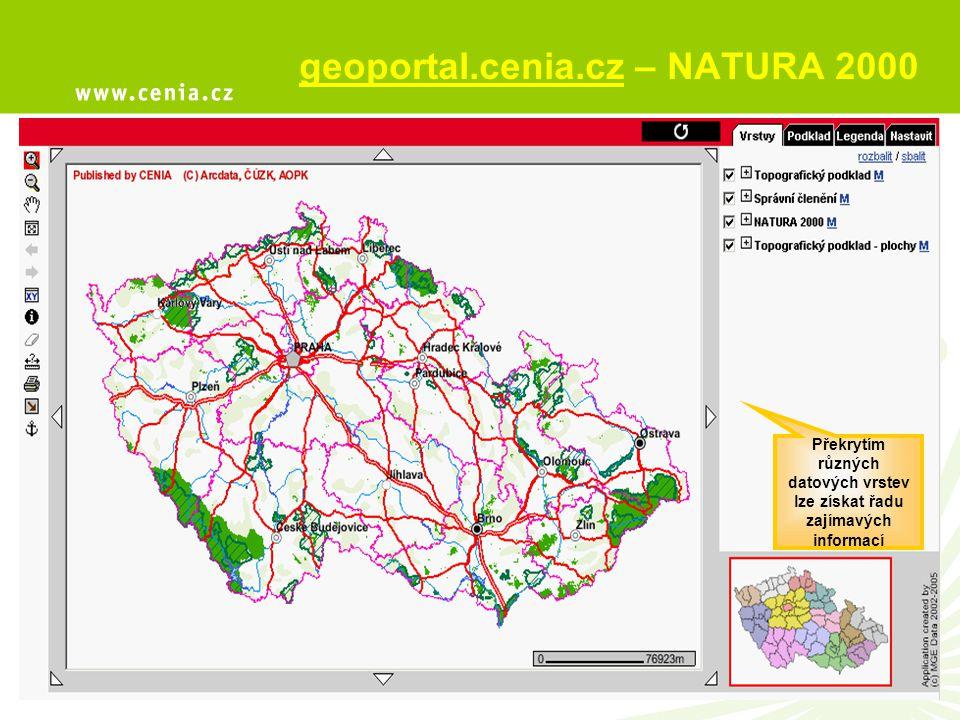 Překrytím různých datových vrstev lze získat řadu zajímavých informací geoportal.cenia.cz – NATURA 2000