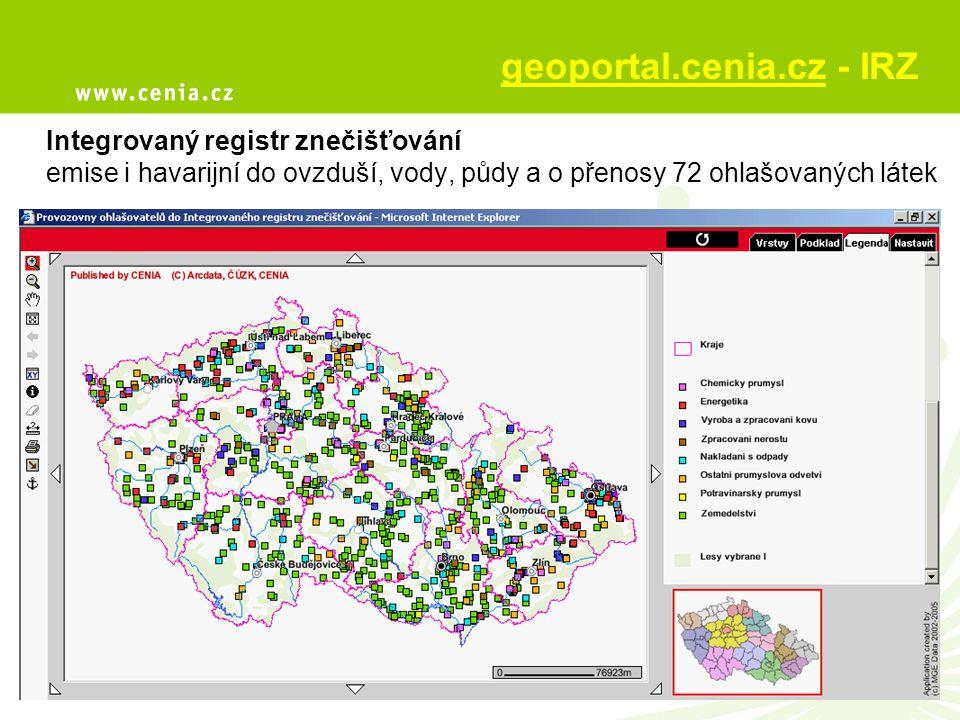 geoportal.cenia.cz - IRZ Integrovaný registr znečišťování emise i havarijní do ovzduší, vody, půdy a o přenosy 72 ohlašovaných látek
