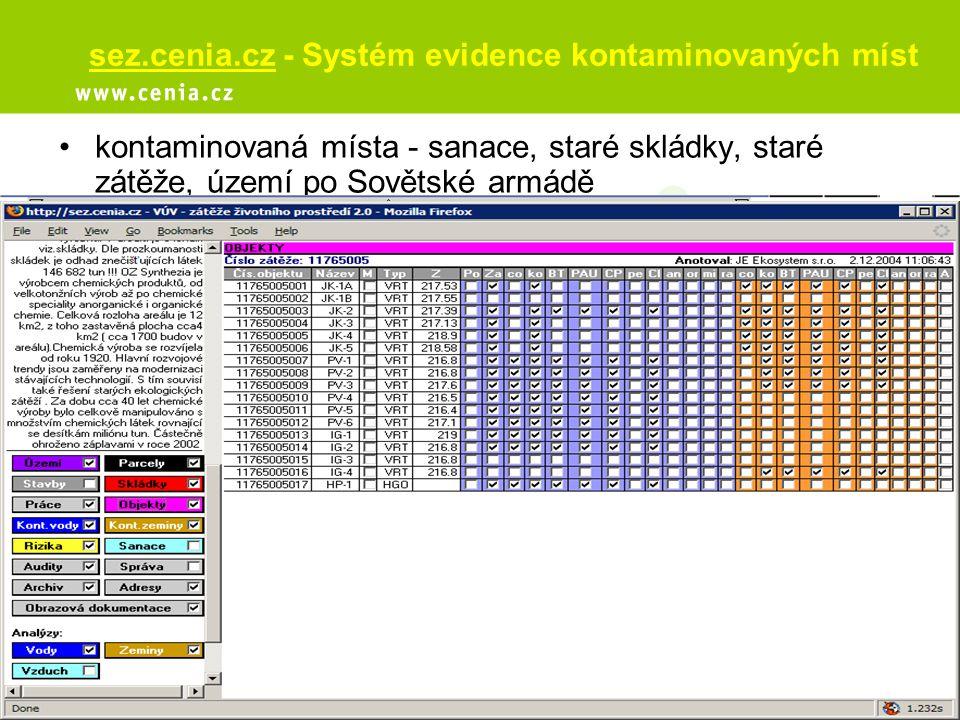 sez.cenia.cz - Systém evidence kontaminovaných míst kontaminovaná místa - sanace, staré skládky, staré zátěže, území po Sovětské armádě