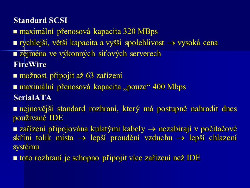 Standard SCSI maximální přenosová kapacita 320 MBps maximální přenosová kapacita 320 MBps rychlejší, větší kapacita a vyšší spolehlivost  vysoká cena