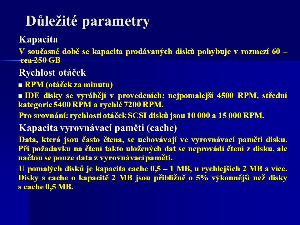 Důležité parametry Kapacita V současné době se kapacita prodávaných disků pohybuje v rozmezí 60 – cca 250 GB Rychlost otáček RPM (otáček za minutu) RP