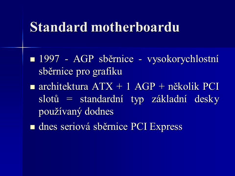 Standard motherboardu 1997 - AGP sběrnice - vysokorychlostní sběrnice pro grafiku 1997 - AGP sběrnice - vysokorychlostní sběrnice pro grafiku architek