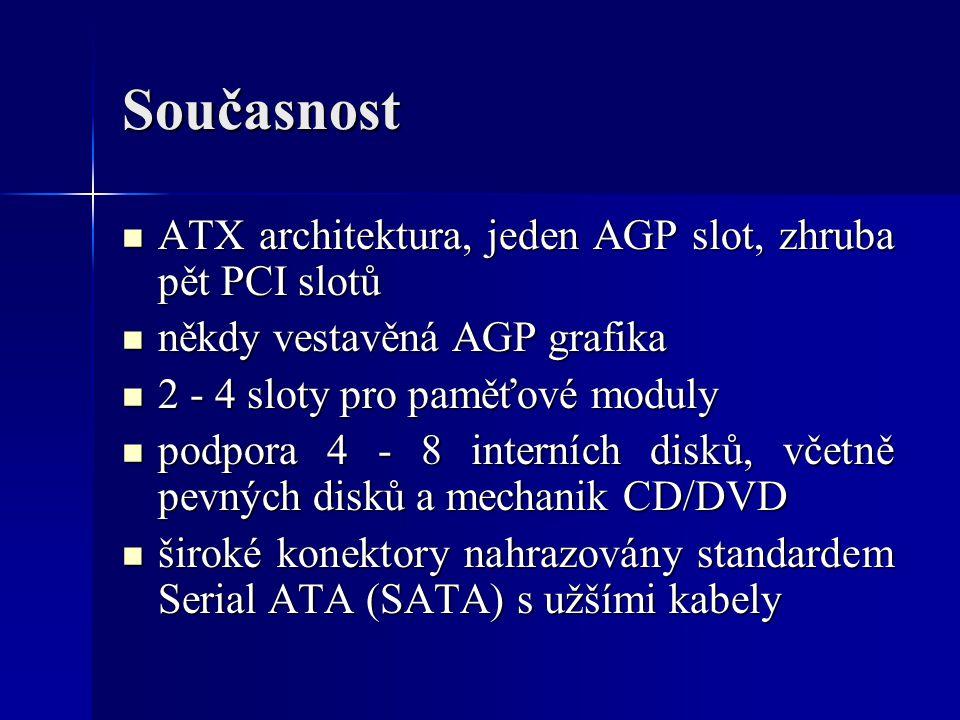 Současnost ATX architektura, jeden AGP slot, zhruba pět PCI slotů ATX architektura, jeden AGP slot, zhruba pět PCI slotů někdy vestavěná AGP grafika n