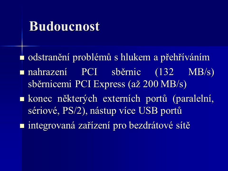 Budoucnost odstranění problémů s hlukem a přehříváním odstranění problémů s hlukem a přehříváním nahrazení PCI sběrnic (132 MB/s) sběrnicemi PCI Expre