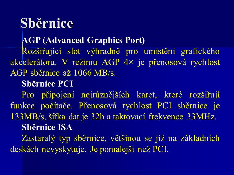 AGP (Advanced Graphics Port) Rozšiřující slot výhradně pro umístění grafického akcelerátoru. V režimu AGP 4× je přenosová rychlost AGP sběrnice až 106