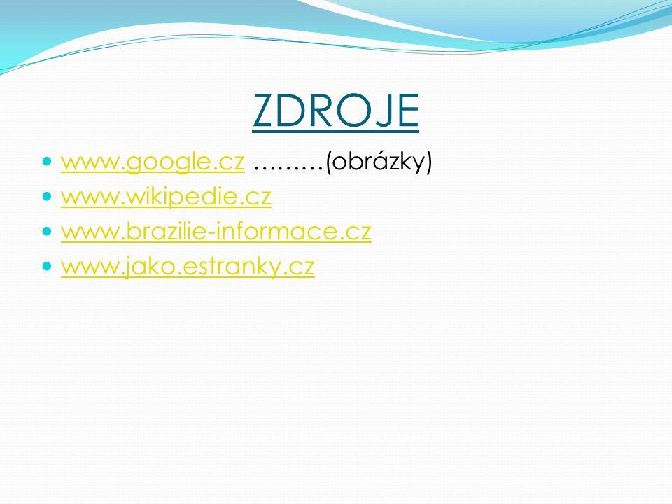 ZDROJE www.google.cz ………(obrázky) www.google.cz www.wikipedie.cz www.brazilie-informace.cz www.jako.estranky.cz